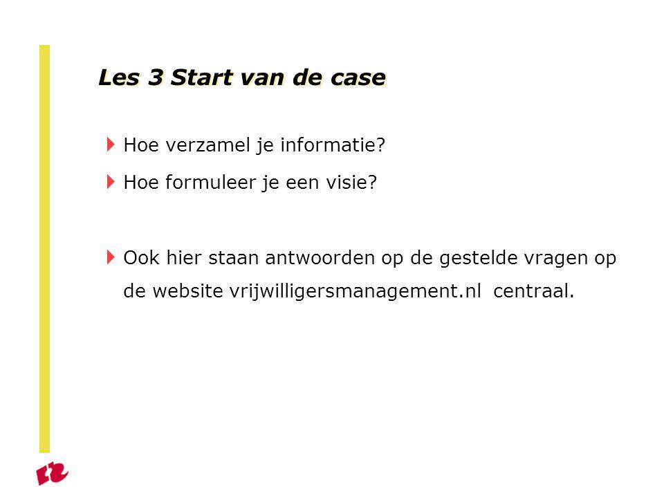 Les 3 Start van de case Hoe verzamel je informatie