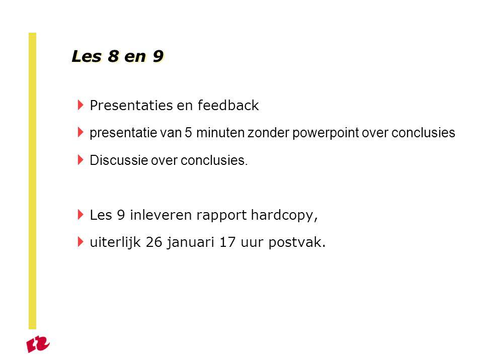 Les 8 en 9 Presentaties en feedback