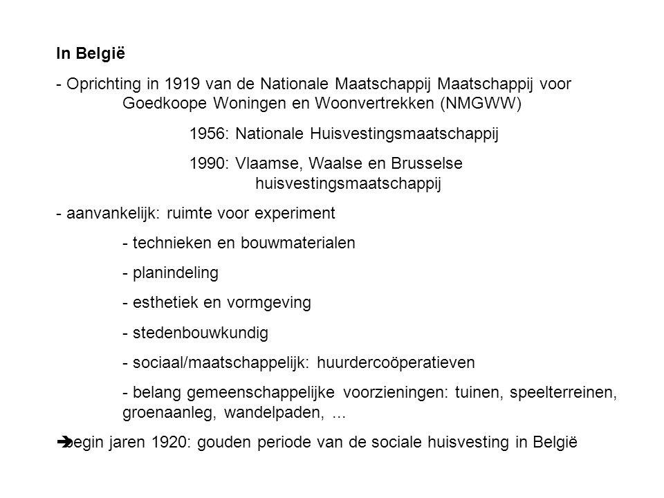 In België Oprichting in 1919 van de Nationale Maatschappij Maatschappij voor Goedkoope Woningen en Woonvertrekken (NMGWW)