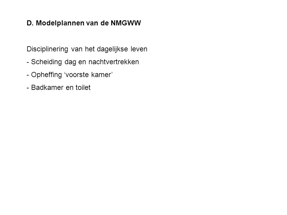 D. Modelplannen van de NMGWW