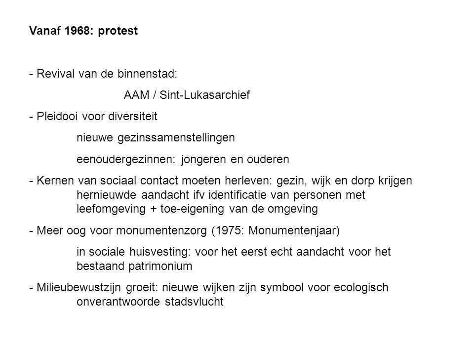 Vanaf 1968: protest Revival van de binnenstad: AAM / Sint-Lukasarchief. Pleidooi voor diversiteit.