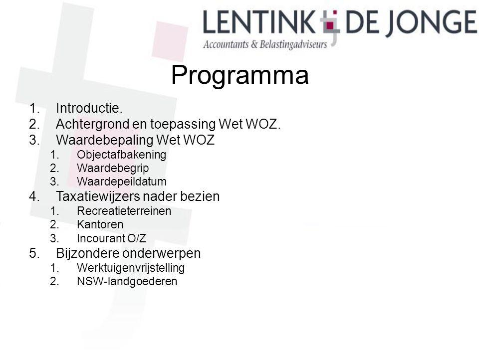 Programma Introductie. Achtergrond en toepassing Wet WOZ.