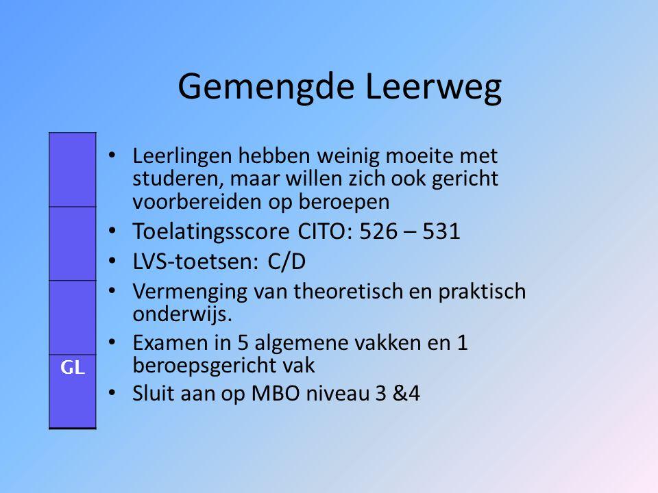Gemengde Leerweg Toelatingsscore CITO: 526 – 531 LVS-toetsen: C/D