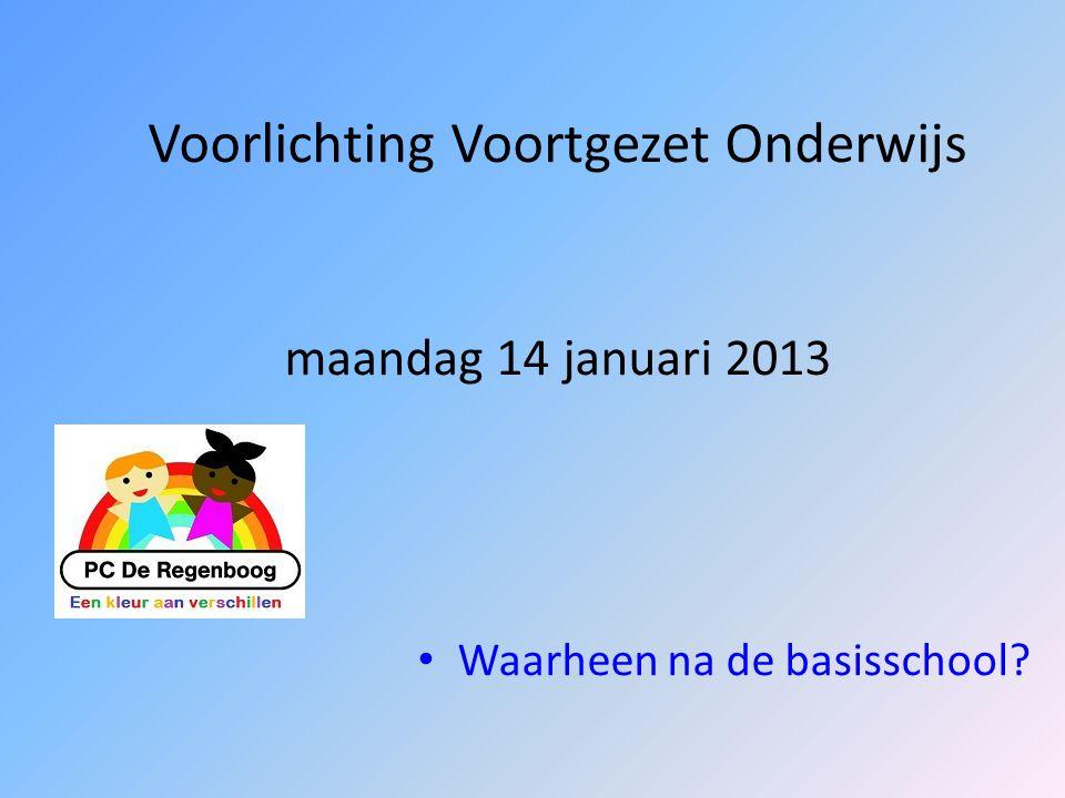 Voorlichting Voortgezet Onderwijs maandag 14 januari 2013