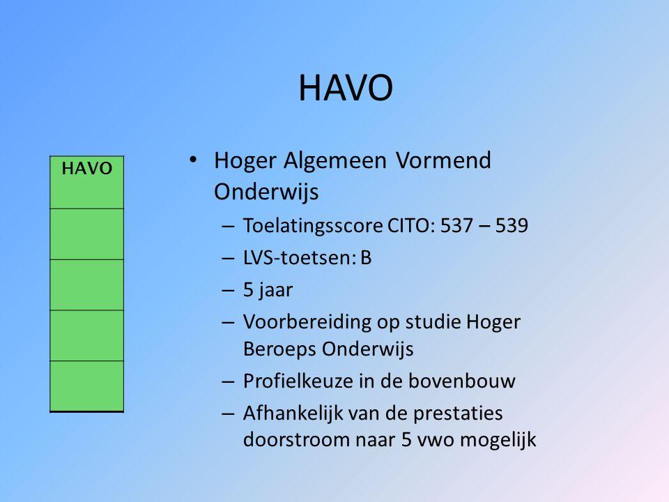 HAVO Hoger Algemeen Vormend Onderwijs Toelatingsscore CITO: 537 – 539