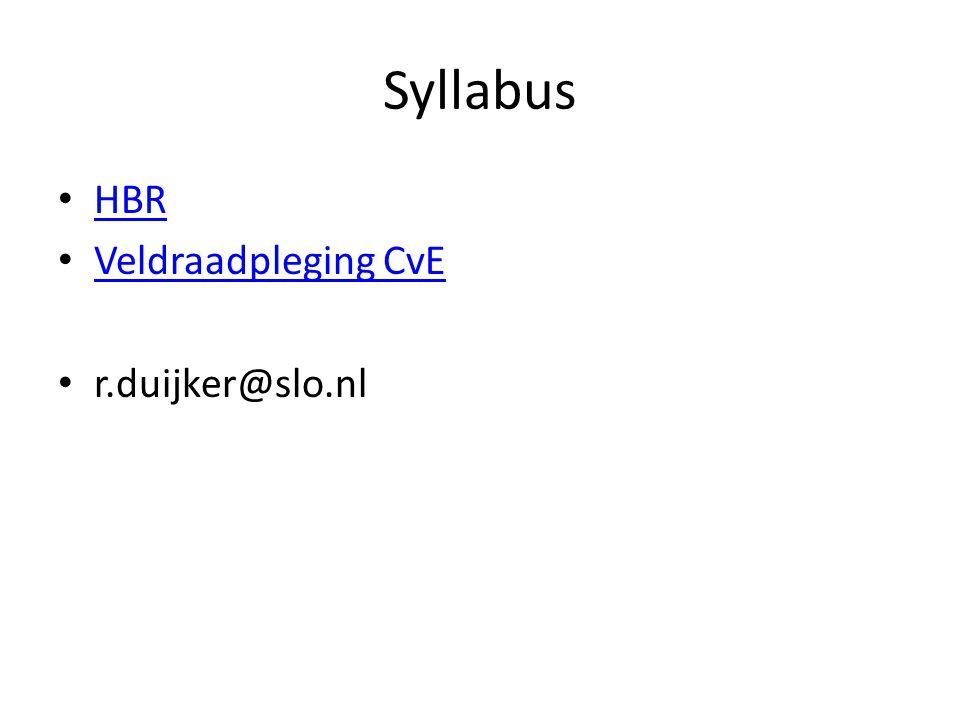 Syllabus HBR Veldraadpleging CvE r.duijker@slo.nl