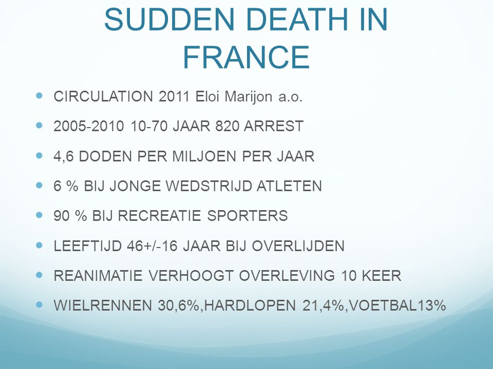 SPORTS-RELATED SUDDEN DEATH IN FRANCE