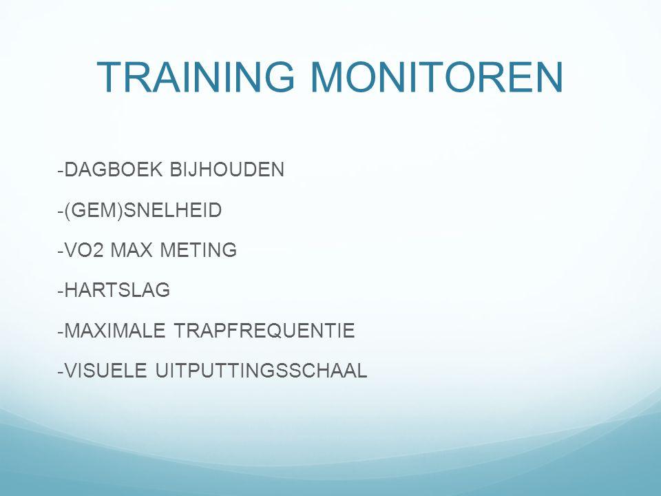 TRAINING MONITOREN -DAGBOEK BIJHOUDEN -(GEM)SNELHEID -VO2 MAX METING -HARTSLAG -MAXIMALE TRAPFREQUENTIE -VISUELE UITPUTTINGSSCHAAL