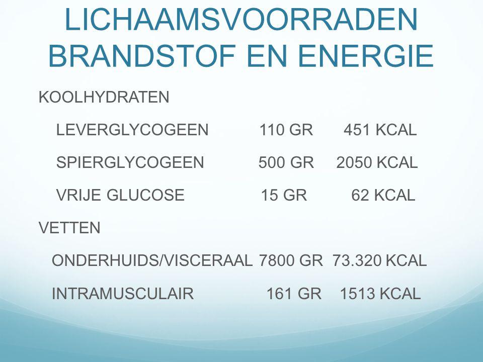 LICHAAMSVOORRADEN BRANDSTOF EN ENERGIE
