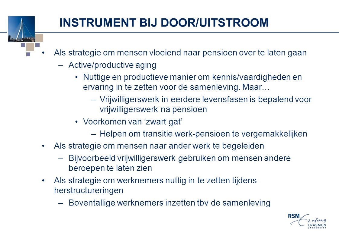Instrument bij door/UITstroom