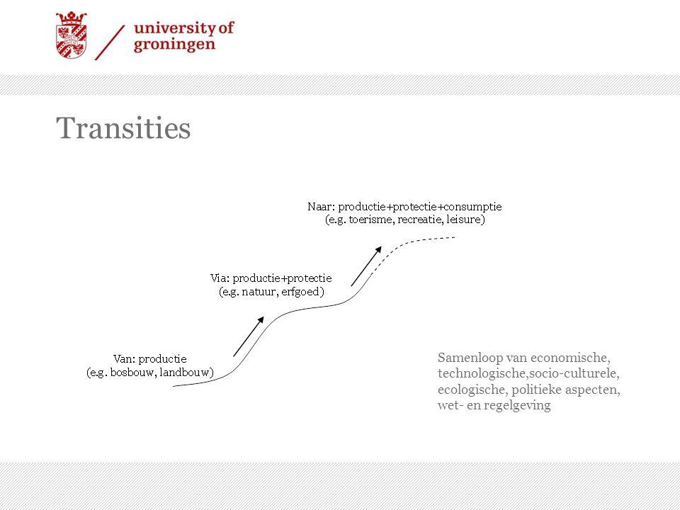 Transities Samenloop van economische, technologische,socio-culturele, ecologische, politieke aspecten, wet- en regelgeving.
