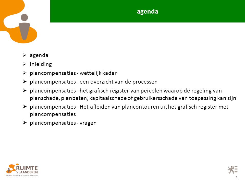 agenda agenda inleiding plancompensaties - wettelijk kader