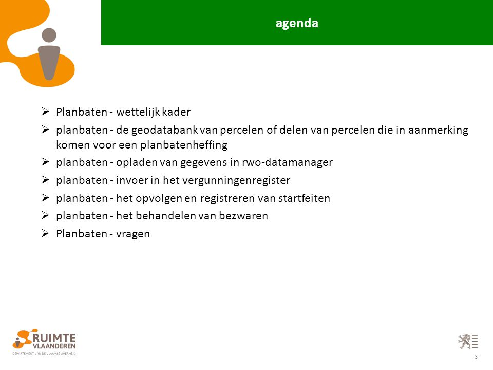 agenda Planbaten - wettelijk kader