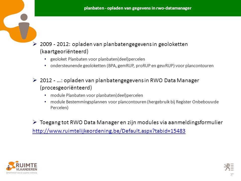 planbaten - opladen van gegevens in rwo-datamanager
