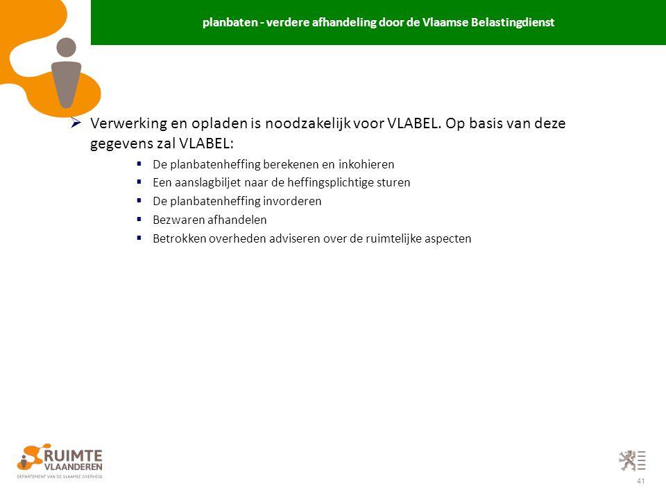 planbaten - verdere afhandeling door de Vlaamse Belastingdienst