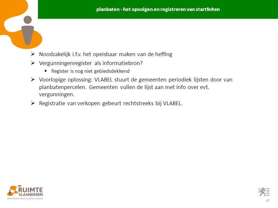 planbaten - het opvolgen en registreren van startfeiten