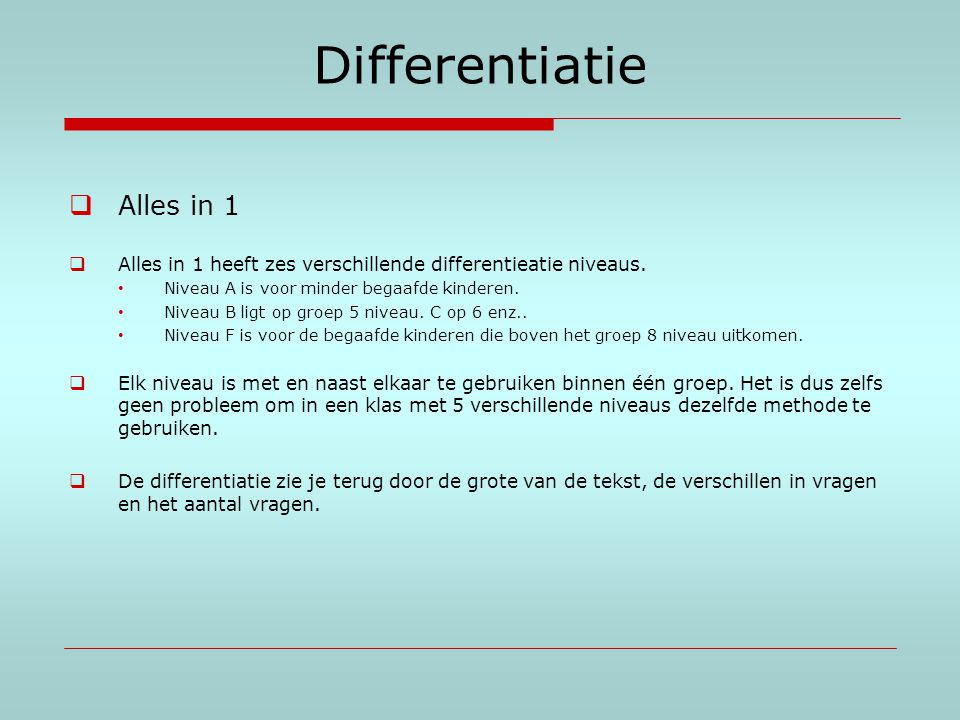 Differentiatie Alles in 1