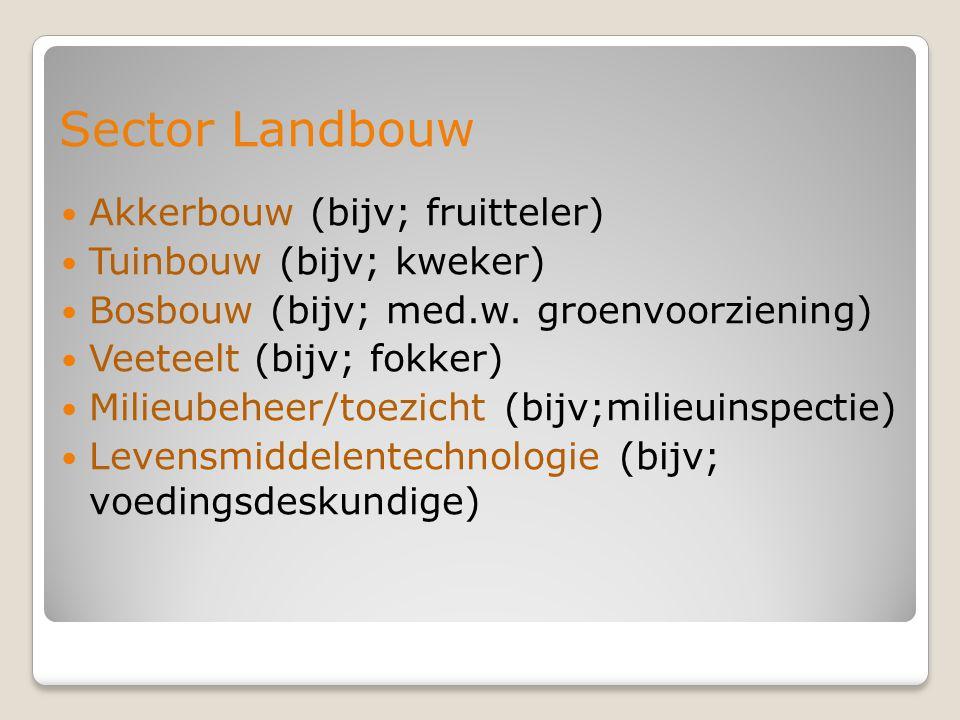 Sector Landbouw Akkerbouw (bijv; fruitteler) Tuinbouw (bijv; kweker)