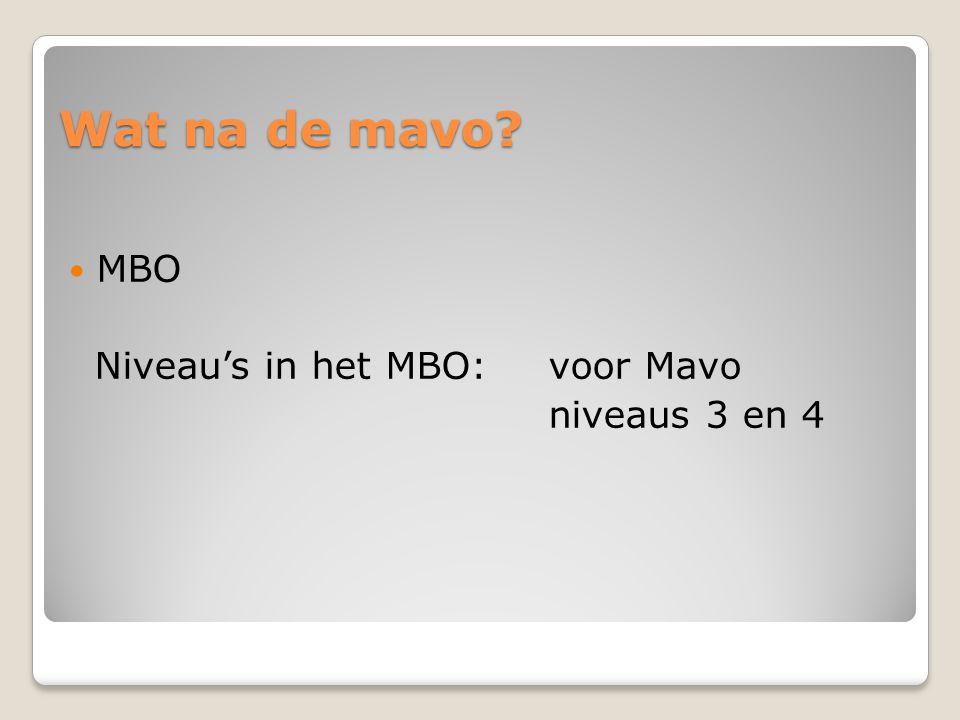 Wat na de mavo MBO Niveau's in het MBO: voor Mavo niveaus 3 en 4