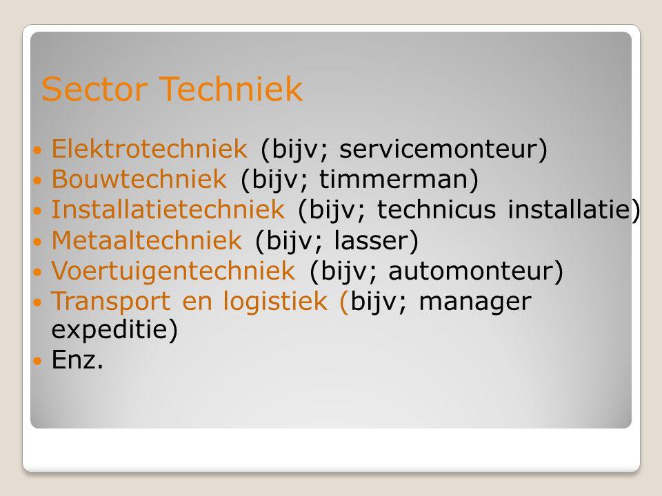 Sector Techniek Elektrotechniek (bijv; servicemonteur)