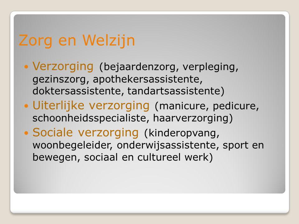 Zorg en Welzijn Verzorging (bejaardenzorg, verpleging, gezinszorg, apothekersassistente, doktersassistente, tandartsassistente)