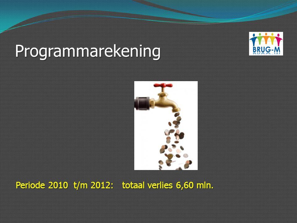 Programmarekening Periode 2010 t/m 2012: totaal verlies 6,60 mln.