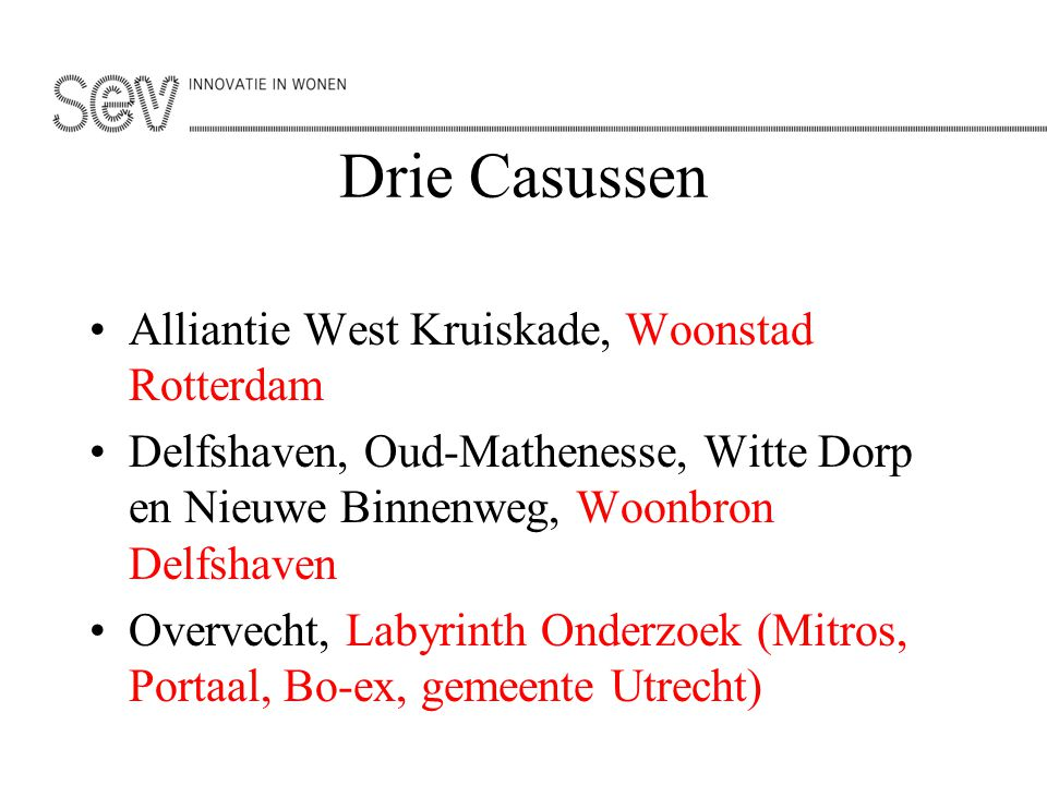 Drie Casussen Alliantie West Kruiskade, Woonstad Rotterdam