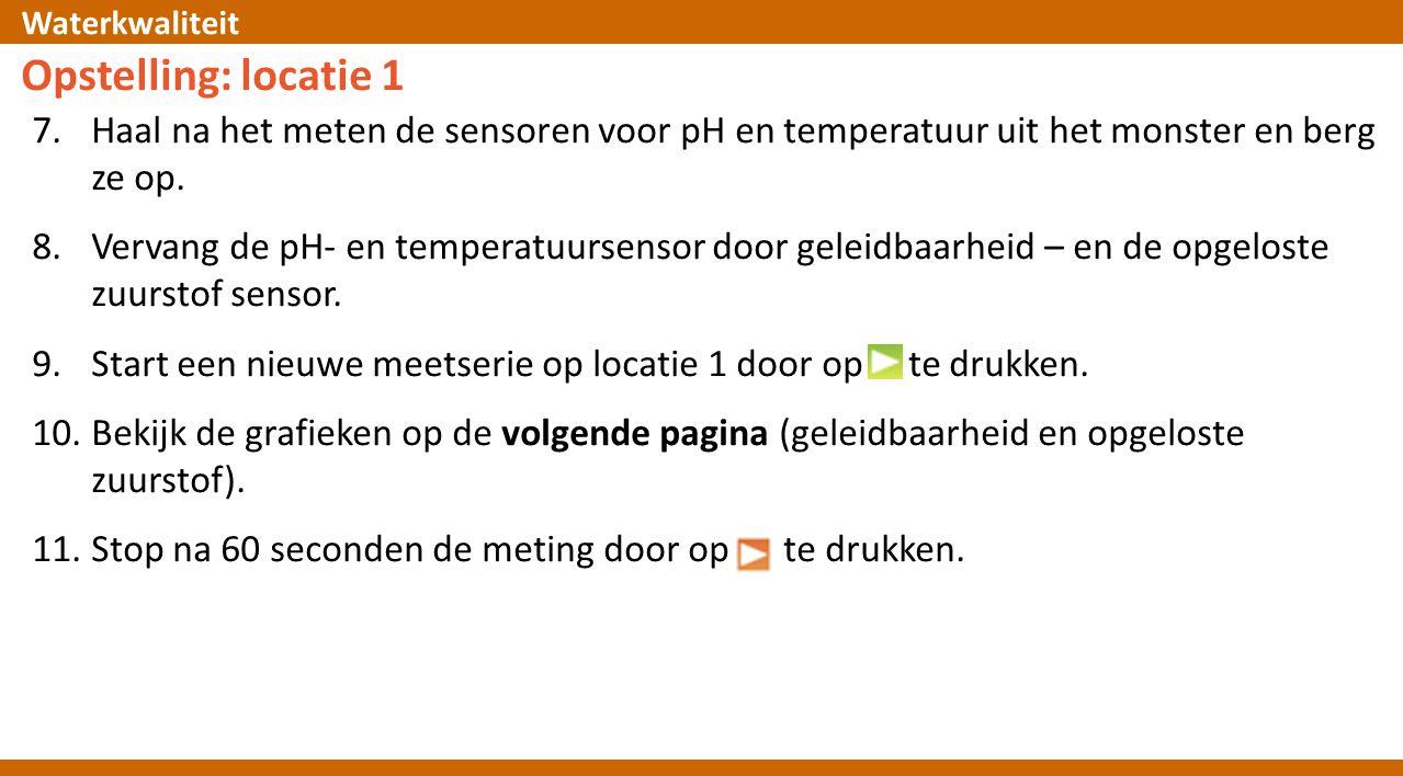 Opstelling: locatie 1 Haal na het meten de sensoren voor pH en temperatuur uit het monster en berg ze op.