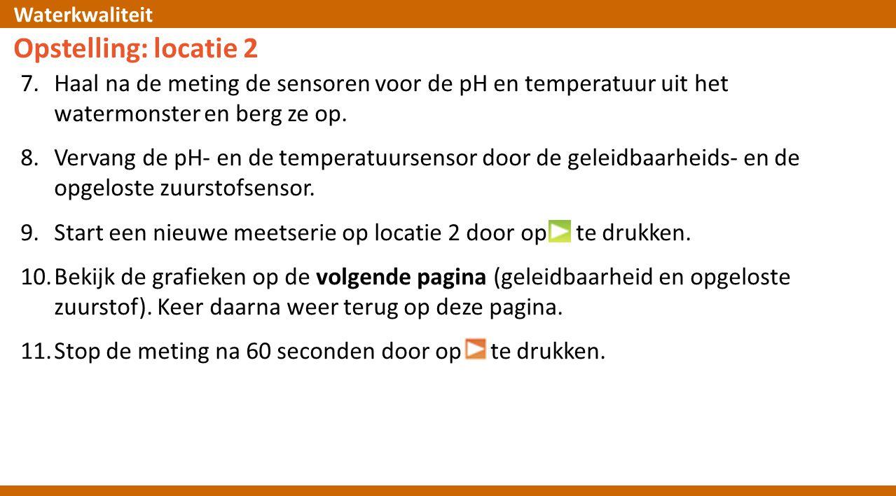 Opstelling: locatie 2 Haal na de meting de sensoren voor de pH en temperatuur uit het watermonster en berg ze op.