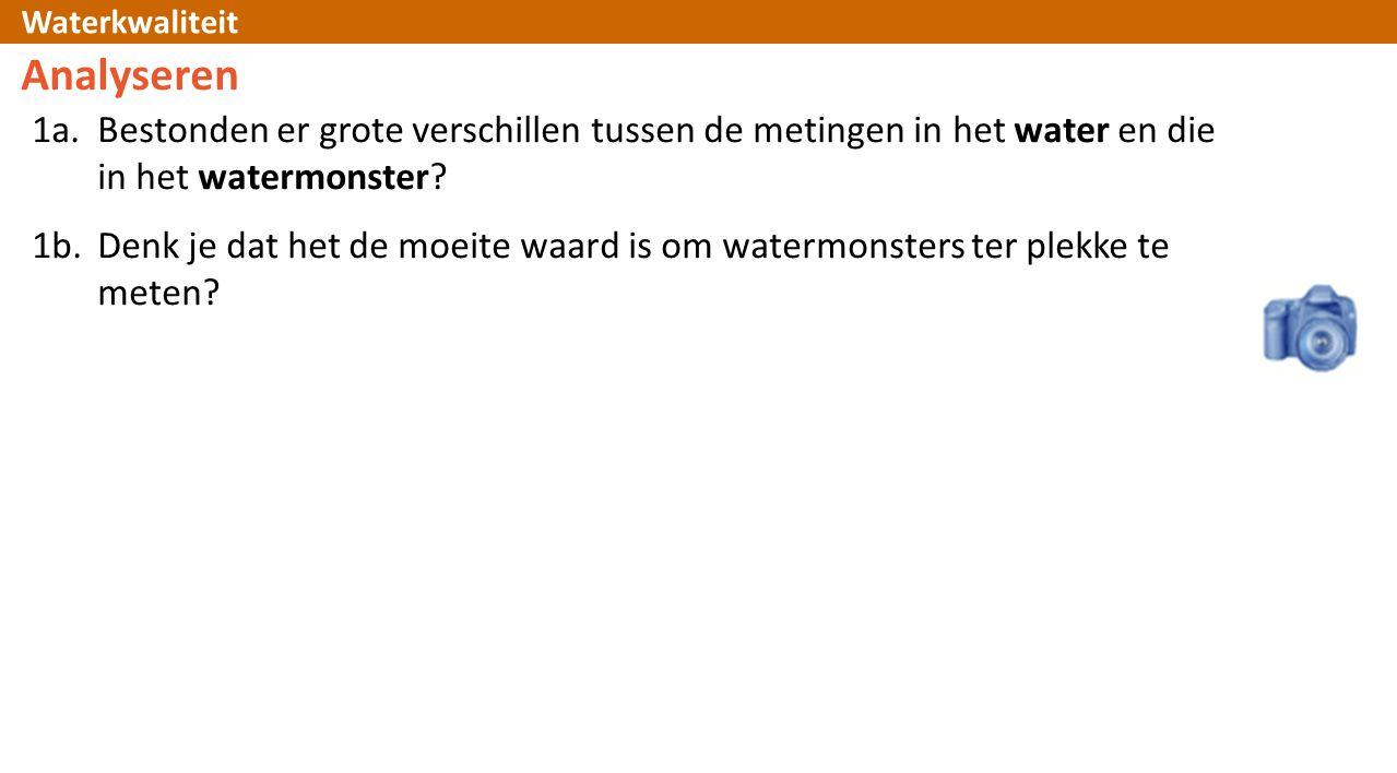 Analyseren 1a. Bestonden er grote verschillen tussen de metingen in het water en die in het watermonster