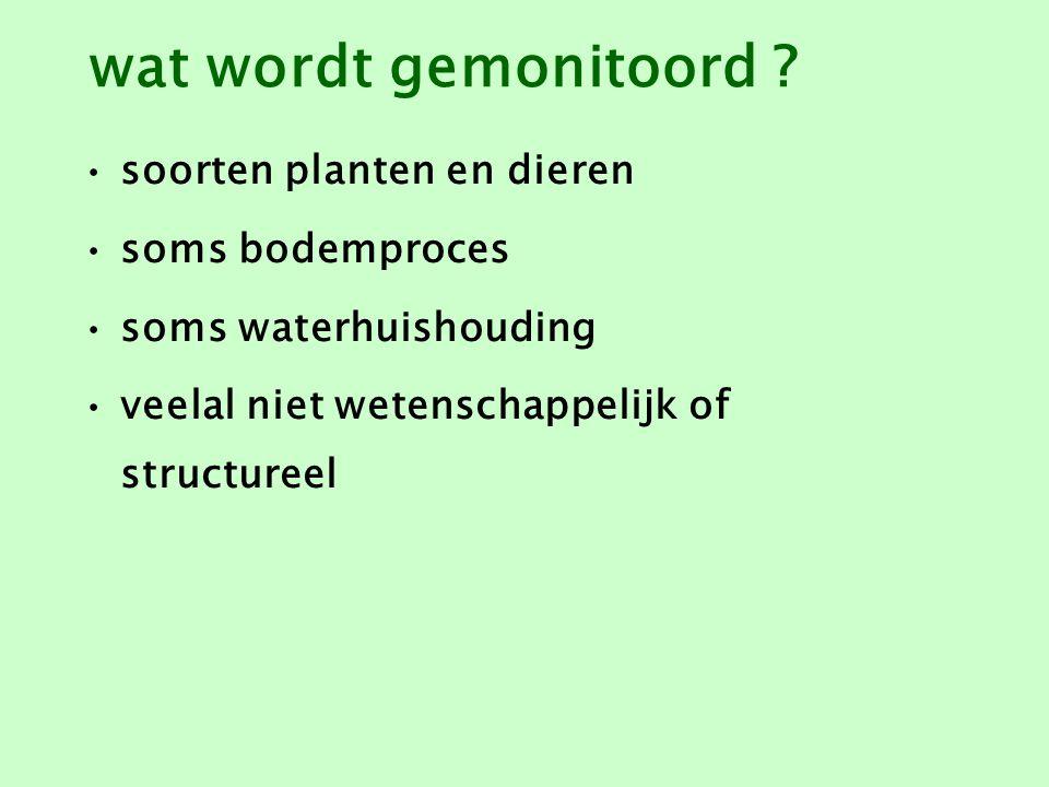wat wordt gemonitoord soorten planten en dieren soms bodemproces