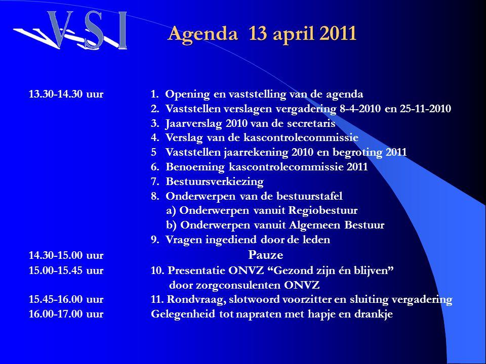 Agenda 13 april 2011 13.30-14.30 uur 1. Opening en vaststelling van de agenda. 2. Vaststellen verslagen vergadering 8-4-2010 en 25-11-2010.