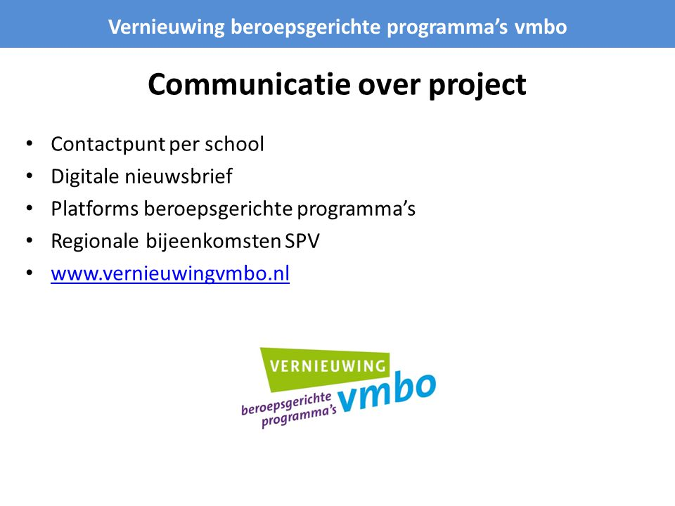 Communicatie over project