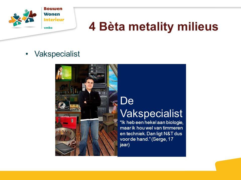 4 Bèta metality milieus De Vakspecialist Vakspecialist