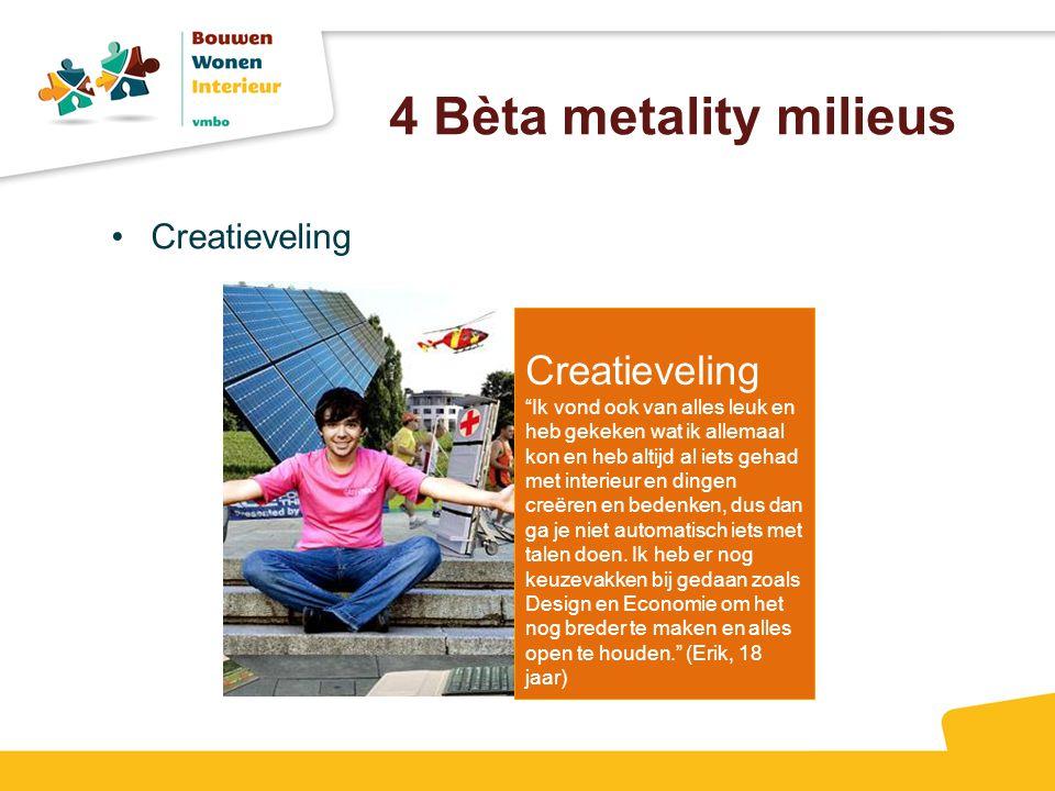4 Bèta metality milieus Creatieveling Creatieveling