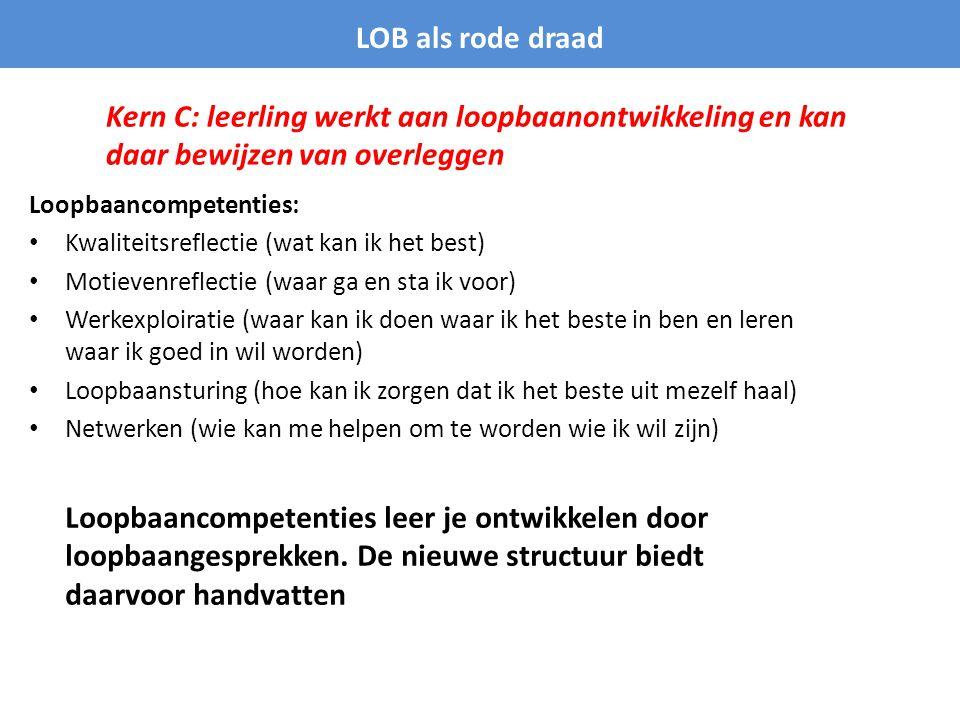 LOB als rode draad Kern C: leerling werkt aan loopbaanontwikkeling en kan daar bewijzen van overleggen.