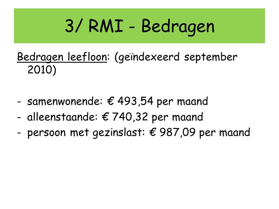3/ RMI - Bedragen Bedragen leefloon: (geïndexeerd september 2010)
