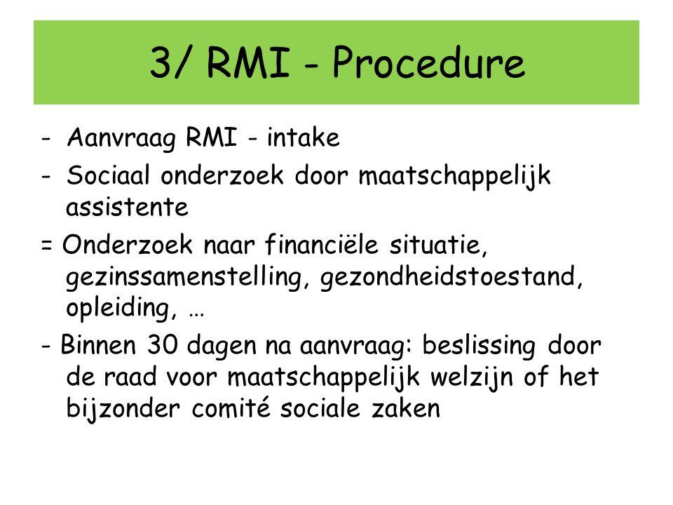 3/ RMI - Procedure Aanvraag RMI - intake