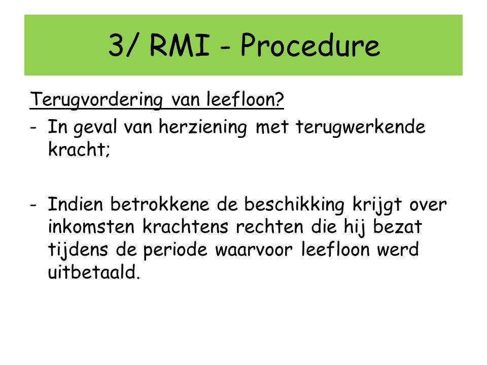 3/ RMI - Procedure Terugvordering van leefloon