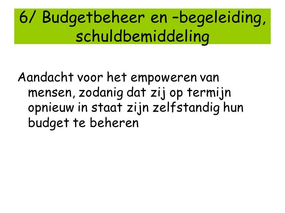 6/ Budgetbeheer en –begeleiding, schuldbemiddeling