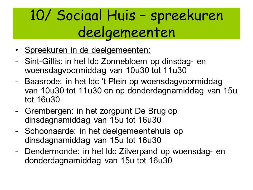 10/ Sociaal Huis – spreekuren deelgemeenten
