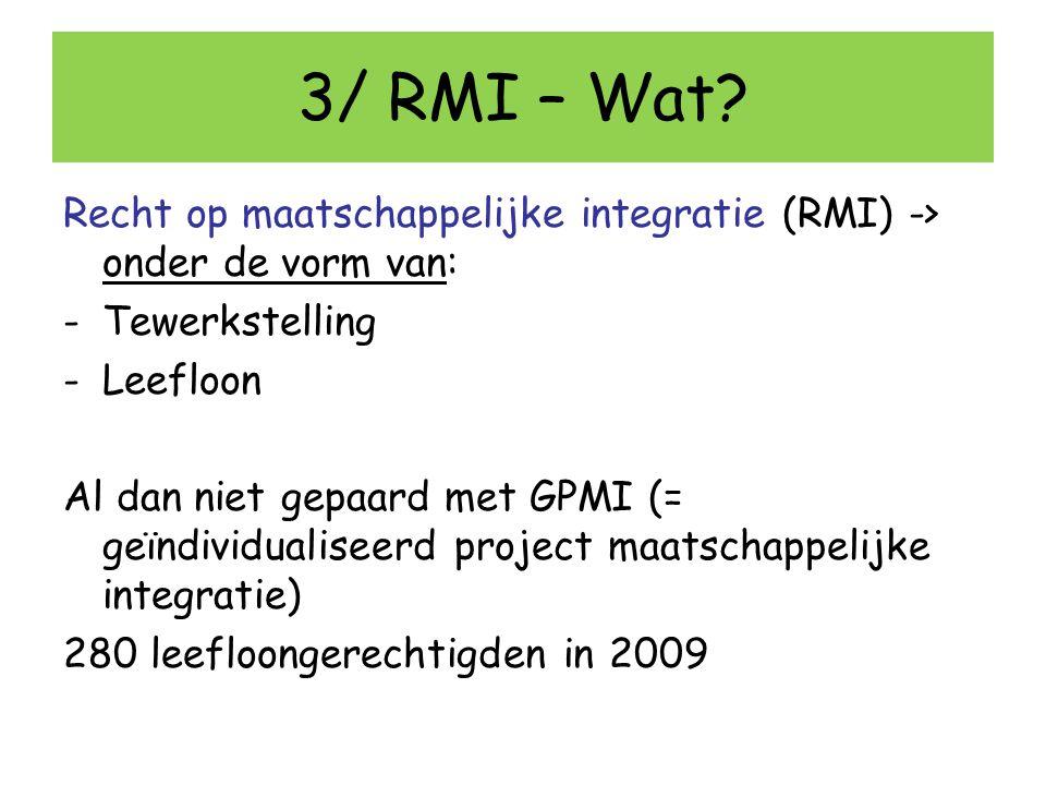 3/ RMI – Wat Recht op maatschappelijke integratie (RMI) -> onder de vorm van: Tewerkstelling. Leefloon.