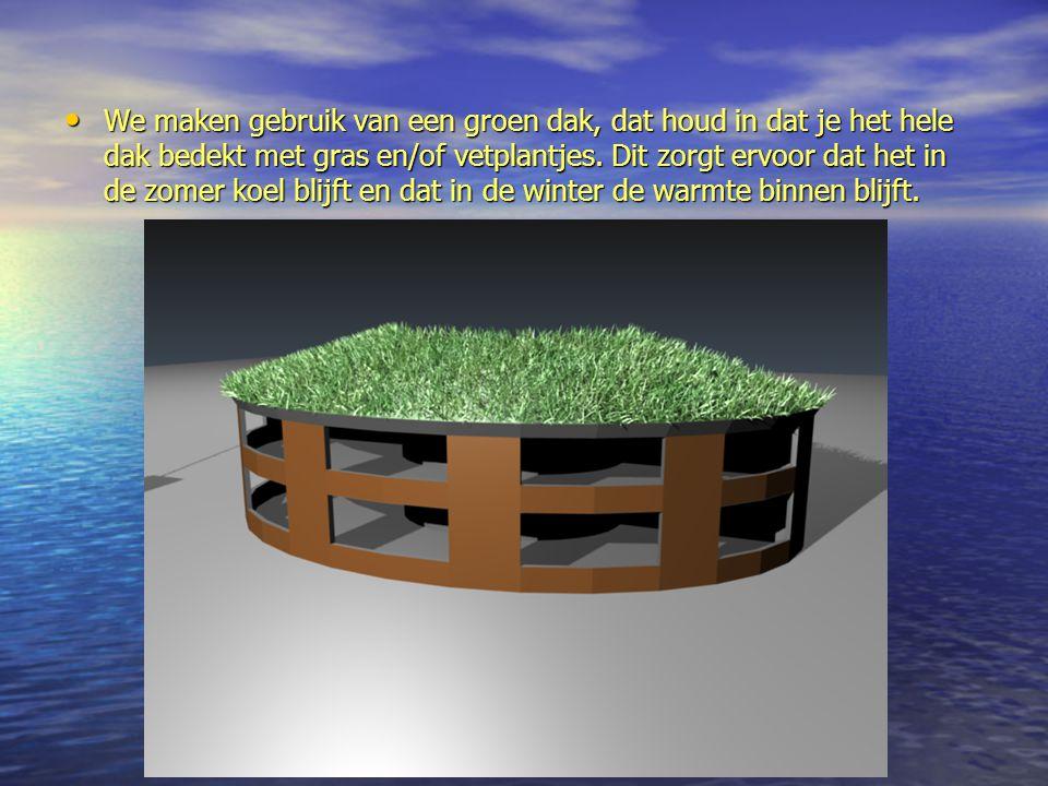 We maken gebruik van een groen dak, dat houd in dat je het hele dak bedekt met gras en/of vetplantjes.