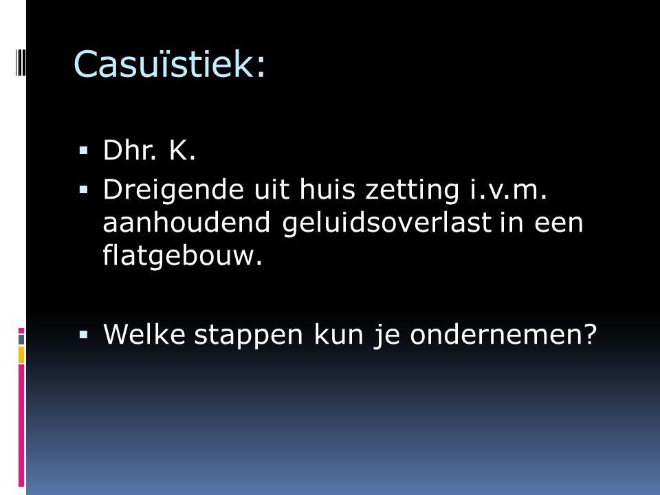 Casuïstiek: Dhr. K. Dreigende uit huis zetting i.v.m. aanhoudend geluidsoverlast in een flatgebouw.