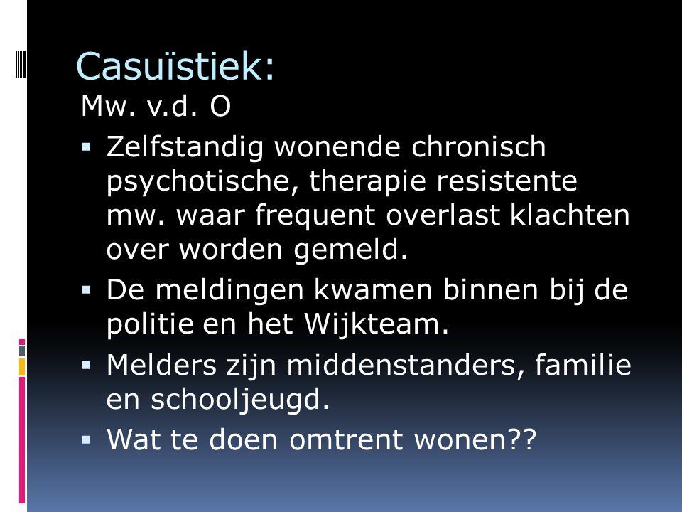Casuïstiek: Mw. v.d. O. Zelfstandig wonende chronisch psychotische, therapie resistente mw. waar frequent overlast klachten over worden gemeld.