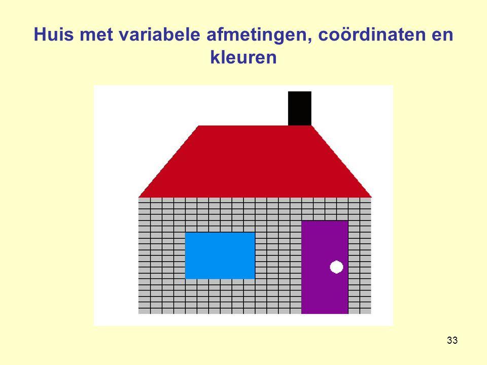 Huis met variabele afmetingen, coördinaten en kleuren
