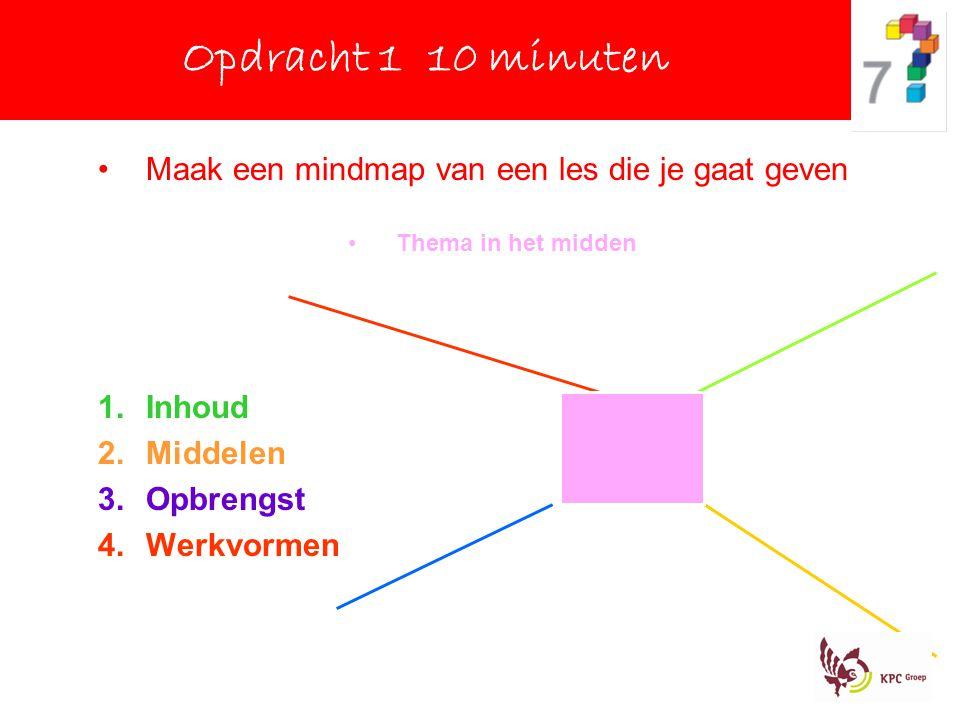 Opdracht 1 10 minuten Maak een mindmap van een les die je gaat geven