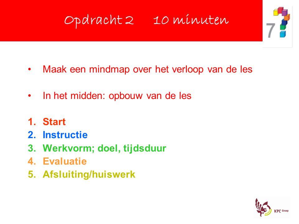 Opdracht 2 10 minuten Maak een mindmap over het verloop van de les