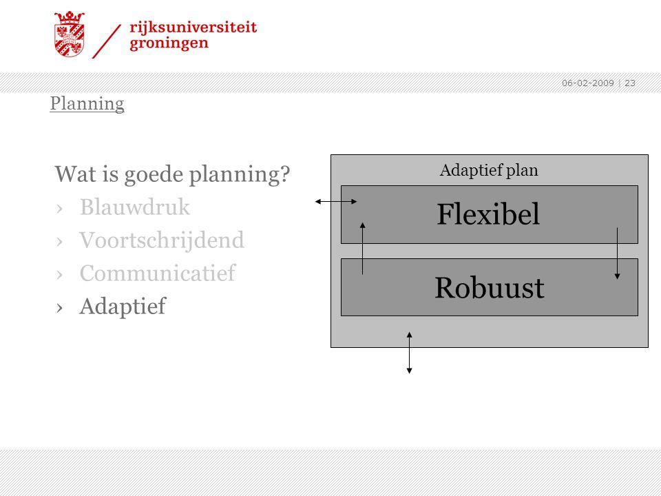 Flexibel Robuust Wat is goede planning Blauwdruk Voortschrijdend