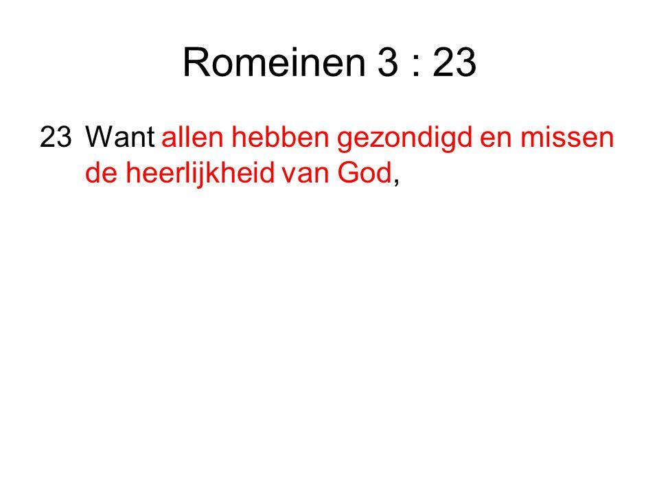 Romeinen 3 : 23 23 Want allen hebben gezondigd en missen de heerlijkheid van God,